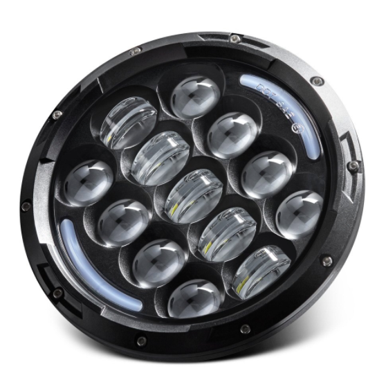 "7"" Round 75W LED Jeep Wrangler Headlights - Black Mojave"