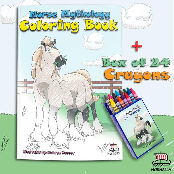 Norse Mythology Coloring Book with crayons