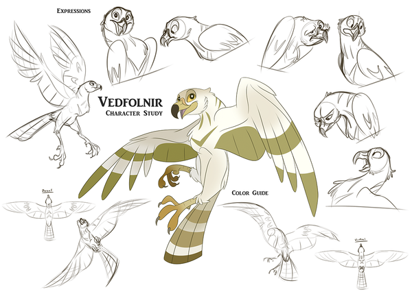 Vedfolnir Character Study illustration by Kathryn Massey.  Vedfolnir is Odur's companion.  Vedfolnir is also the hawk that sits between the Eagle's eyes on the tree Yggdrasil. Norhalla.com