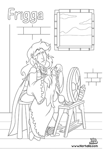 Norse Mythology Coloring Book sample Frigga at Norhalla.com