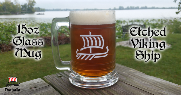 Sensational glass mug stein to show off your inner Viking while enjoying your favorite beverage.  Ideal gift for yourself or your Viking friends! Norhalla.com