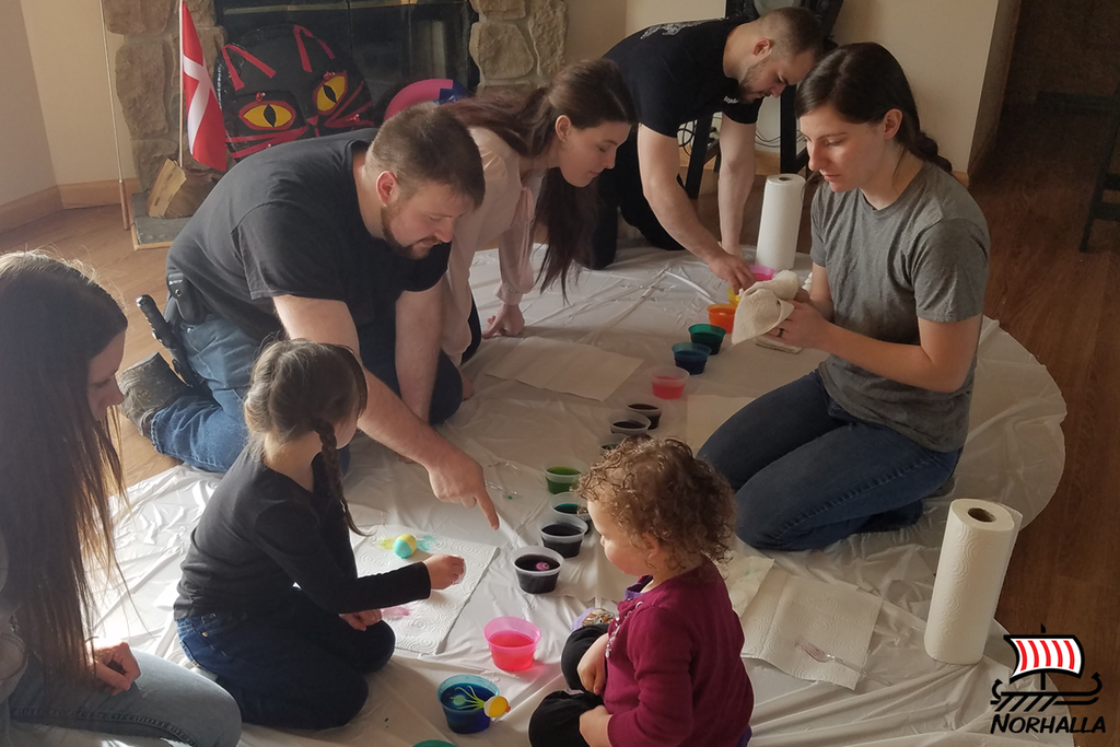 We began our weekend on Friday evening with a social and set up tents for camping. Saturday, we colored eggs with the Little Vikings (and big Vikings too)!