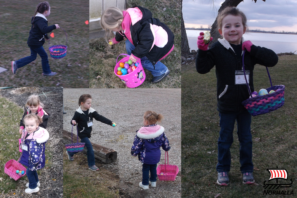Bright and early Sunday morning, the Little Vikings went on an egg hunt.  Kara found the golden egg!