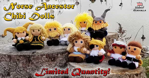 "Custom Norse Viking ancestor plush character chibi sets. Each ancestor measures 4"" tall to top of head.  Norhalla.com"