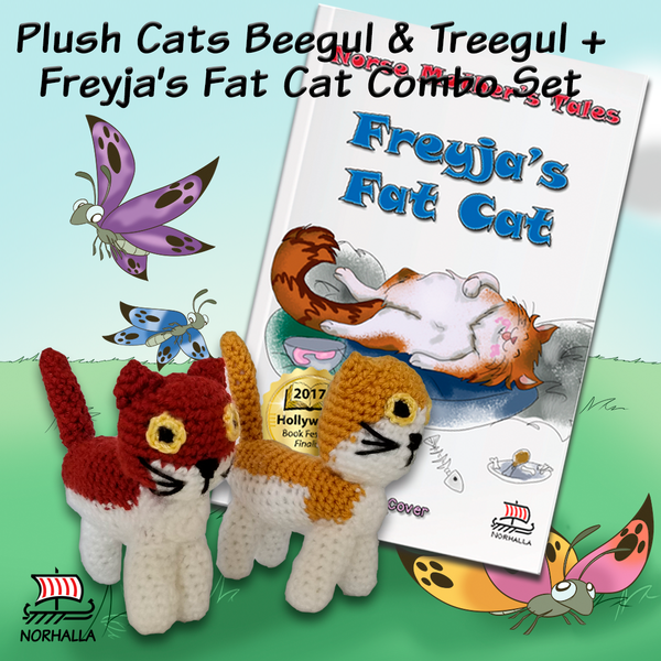 Combo set Freyja's Fat Cat and Plush Cats Beegul & Treegul ancestor dolls