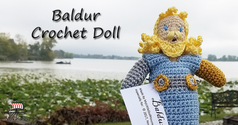 "Custom Baldur Norse Viking ancestor crochet doll made exclusively for Norhalla!  Beautifully handmade doll stands 9"" tall. Norhalla.com"