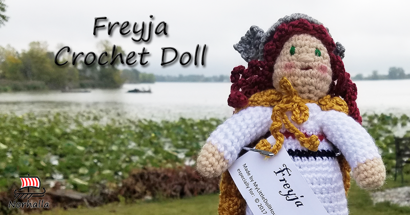 "Custom Freyja Norse Viking ancestor crochet doll made exclusively for Norhalla!  Beautifully handmade doll stands 9"" tall. Norhalla.com"
