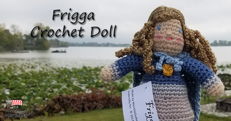 "Custom Frigga Norse Viking ancestor crochet doll made exclusively for Norhalla!  Beautifully handmade doll stands 9"" tall. Norhalla.com"