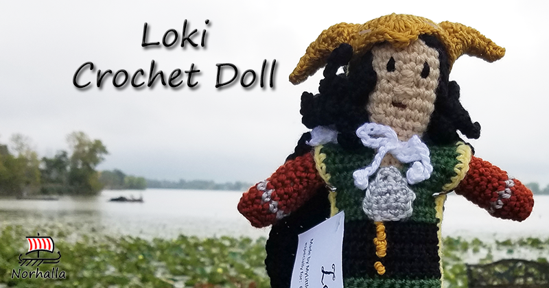 "Custom Loki Norse Viking ancestor crochet doll made exclusively for Norhalla!  Beautifully handmade doll stands 9"" tall. Norhalla.com"