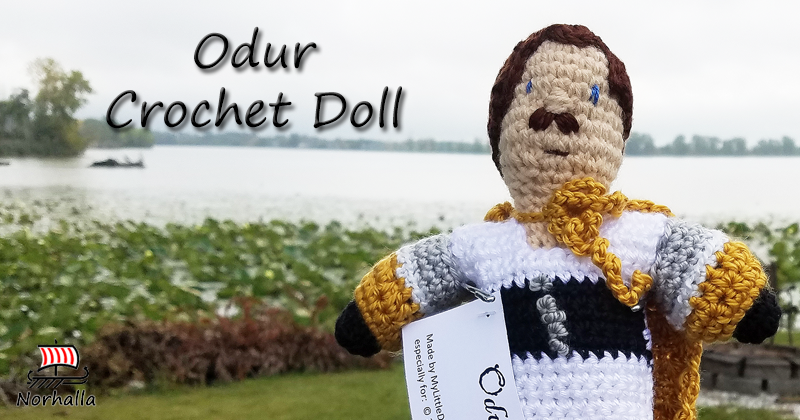 "Custom Odur Norse Viking ancestor crochet doll made exclusively for Norhalla!  Beautifully handmade doll stands 9"" tall. Norhalla.com"