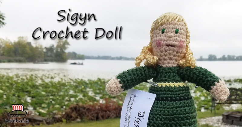 "Custom Sigyn Norse Viking ancestor crochet doll made exclusively for Norhalla!  Beautifully handmade doll stands 9"" tall. Norhalla.com"