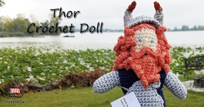 "Custom Thor Norse Viking ancestor crochet doll made exclusively for Norhalla!  Beautifully handmade doll stands 9"" tall. Norhalla.com"