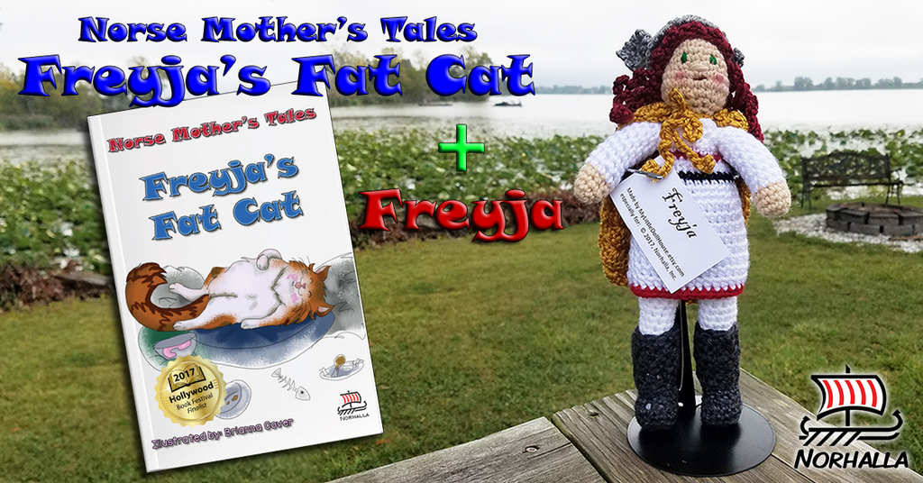 Plush Freyja together with Freyja's Fat Cat children's book combo at Norhalla.com.