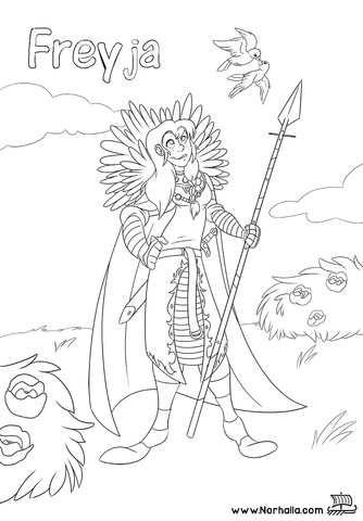 Norse Mythology Coloring Book sample Freyja at Norhalla.com