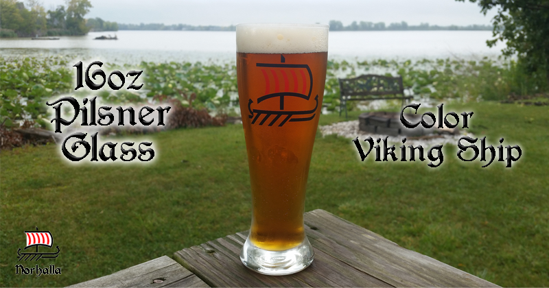 Classic Pilsner glass with color Viking Ship print to show off your inner Viking while enjoying your favorite beverage.  Ideal gift for yourself or your Viking friends! Norhalla.com