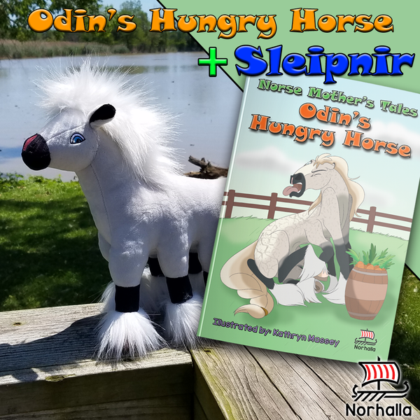 Odin's Hungry Horse children's book + Sleipnir plush at Norhalla.com.