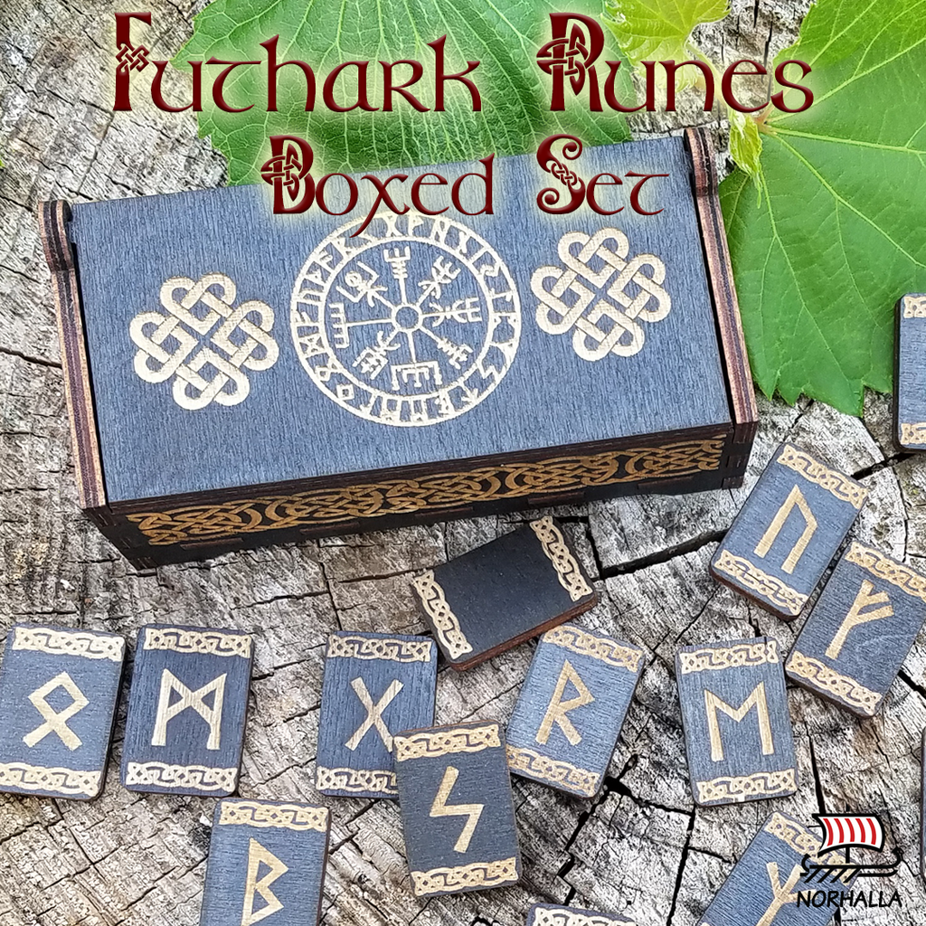 Beautiful black wood runes in boxed set.  Laser engraved runes with Nordic knots set in a hinged wooden box engraved with Vegvisir, Viking compass. Runes and box engraved with Nordic knots. Norhalla.com