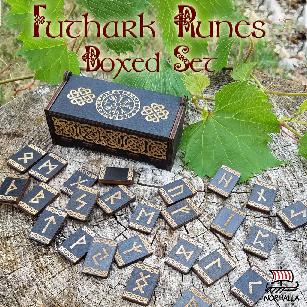 Futhark Runes Set with Viking compass Vegvisir. Norhalla.com