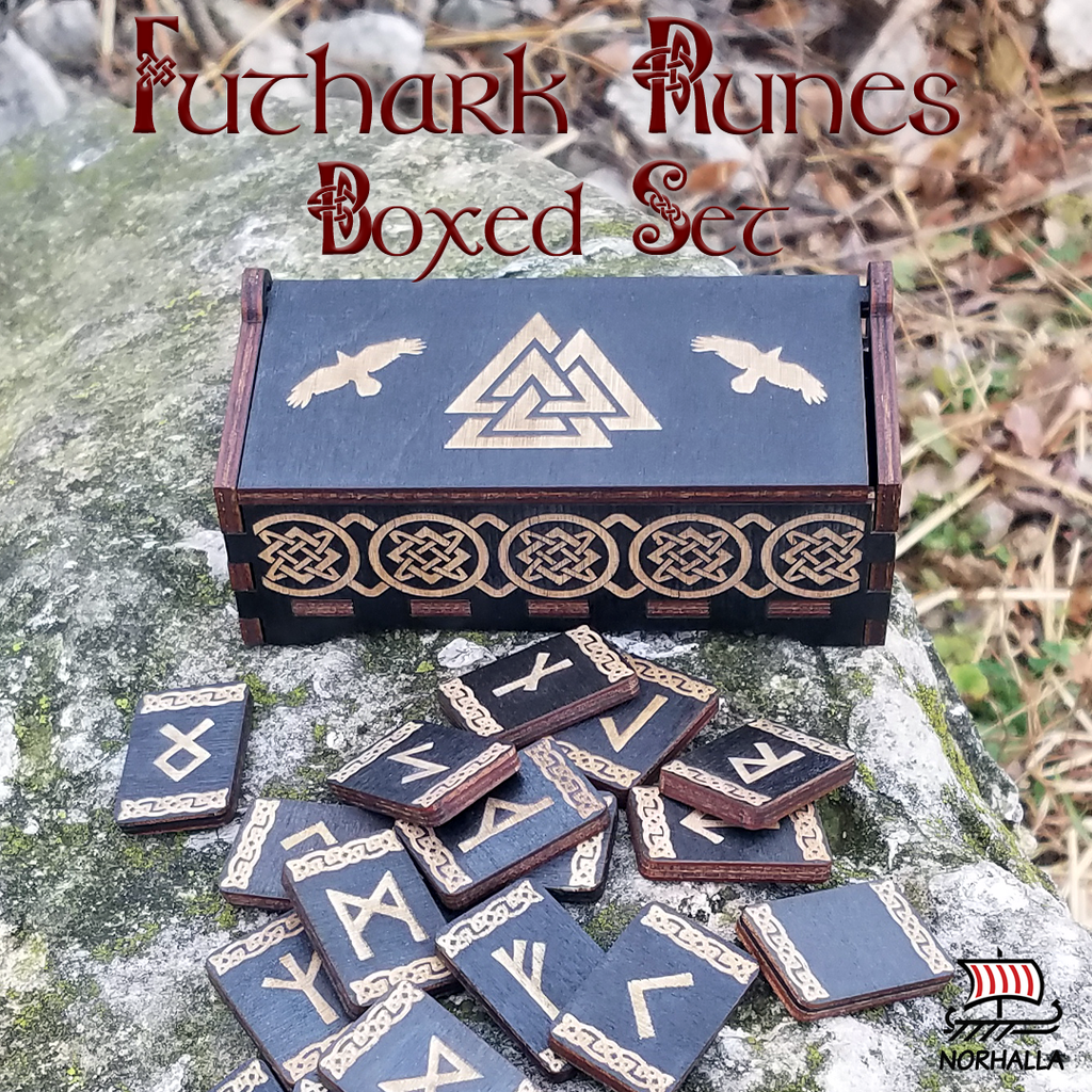 Beautiful black wood runes in boxed set.  Laser engraved runes with Nordic knots set in a hinged wooden box engraved with a Valknut along with two ravens, Hungin and Munin. Runes and box engraved with Nordic knots.