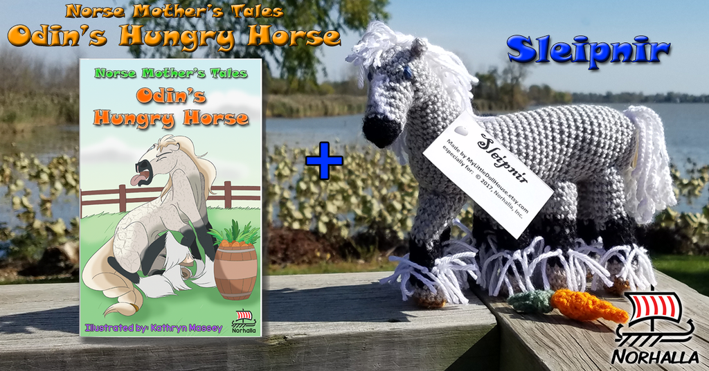 Sleipnir plush ancestor together with Odin's Hungry Horse book at Norhalla.com
