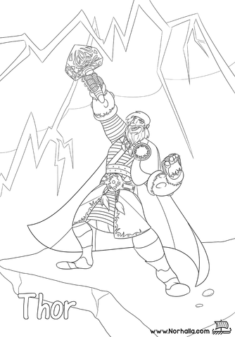 Norse Mythology Coloring Book sample Thor at Norhalla.com