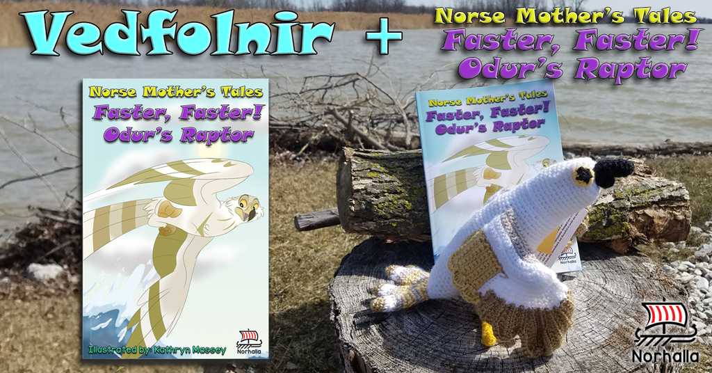 Buy Norse Mother's Tales: Faster, Faster! Odur's Raptor children's book together with Vedfolnir plush ancestor! Norhalla.com