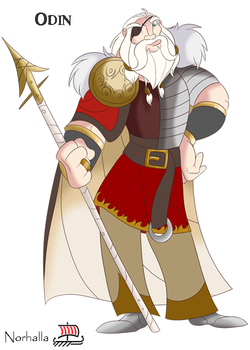 Odin - Odin is the Norse leader of the Aesir, and Leader of Asgard.  He has 2 wolf companions, Geri & Freki, 2 ravens, Hugin and Munin, and a horse named Sleipnir with 8 legs.  He plucked out his right eye for knowledge.  Illustration by Kathryn Massey, copyright Norhalla.com.
