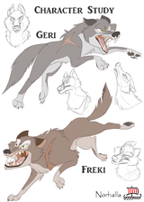 "Geri and Freki - Geri & Freki both meaning ""ravenous"" or ""greedy one""; they are the two wolves who accompany Odin. They guard and protect. Illustration by Kathryn Massey, copyright Norhalla.com."