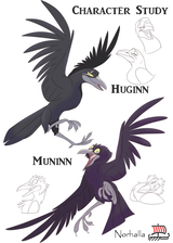 Huginn and Muninn - Odin's Ravens Huginn and Muninn - Character Study for Norse Mother's Tales. Illustration by Kathryn Massey, copyright Norhalla.com.