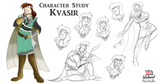 "Kvasir is the keeper of the book, ""Mead of Poetry"", which when read will answer any question asked.  Illustration by Kathryn Massey, copyright Norhalla.com."