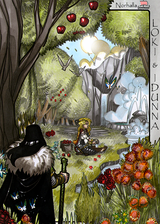 Idunna and Loki - In Idunna's Garden - Scene from Legends, Idunna's Enchanted Apples. Illustration by Nicolas R. Giacondino, copyright Norhalla.com.