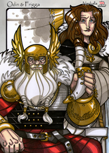Odin and Frigga - A Toast! - Scene from Legends, Idunna's Enchanted Apples. Illustration by Nicolas R. Giacondino, copyright Norhalla.com.