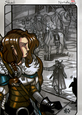 Skadi - Scene from Legends, Idunna's Enchanted Apples. Illustration by Nicolas R. Giacondino, copyright Norhalla.com.