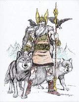 Odin - Odin is the Norse leader of the Aesir, and Leader of Asgard.  He has 2 wolf companions, Geri & Freki, 2 ravens, Hugin and Munin, and a horse named Sleipnir with 8 legs.  He plucked out his right eye for knowledge.  Illustration by Bob Barry copyright Norhalla.com.