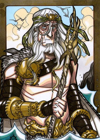 Aegir - In traditional Norse mythology, Aegir has great feasts in his hall every autumn and invites the people of Asgard to join. Illustration by Nicolas R. Giacondino, copyright Norhalla.com