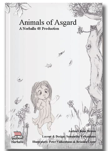 Animals of Asgard children's book by Norhalla.com. You'll get to meet Geri and Freki, Hugin and Munin, Beegul and Treegul, Toothgnasher and Toothgrinder, Sleipnir, and Vedfolnir.