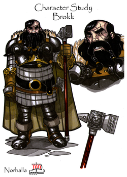 Brokk - Brokk (or Brokkr) is a dwarf, or dark elf, from Svartalfheim. Illustration by Nicolas R. Giacondino, copyright Norhalla.com.