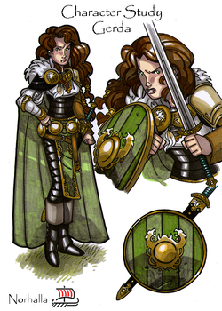 Gerda - In Mythology, Gerda is the daughter of a powerful Jotun king, Gymir. She is beautiful and wealthy. Freyr gives up his Sword of Power in order to marry Gerda. Illustration by Nicolas R. Giacondino, copyright Norhalla.com.