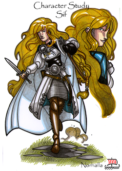 Sif - Sif is Thor's wife, she has long golden blonde hair.  Illustration by Nicolas R. Giacondino, copyright Norhalla.com.