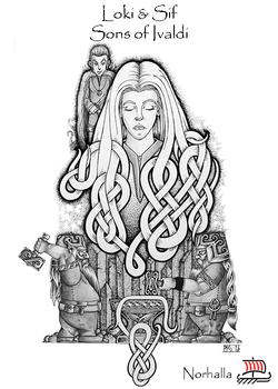 Sons of Ivaldi - Sif's Golden Hair with Loki and Sons of Ivaldi - Scene from Children of Odin, republishing by Norhalla. Illustration by Micke Johansson, copyright Norhalla.com.