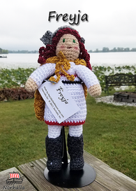 Custom Freyja Norse Viking ancestor crochet doll made exclusively for Norhalla!  Beautifully handmade doll stands 9