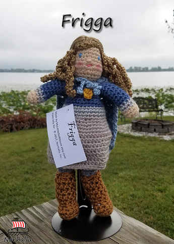Custom Frigga Norse Viking ancestor crochet doll made exclusively for Norhalla!  Beautifully handmade doll stands 9