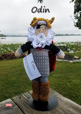"Custom Odin crochet doll made exclusively for Norhalla!  Beautifully handmade doll stands 9"" tall. Odin comes with a removable golden winged helmet and removable red cloak. Norhalla.com"