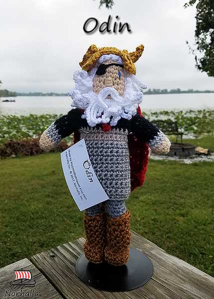 Custom Odin crochet doll made exclusively for Norhalla!  Beautifully handmade doll stands 9