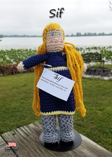 "Custom Sif Norse Viking ancestor crochet doll made exclusively for Norhalla!  Beautifully handmade doll stands 9"" tall. Norhalla.com"