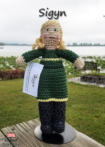 Custom Sigyn Norse Viking ancestor crochet doll made exclusively for Norhalla!  Beautifully handmade doll stands 9
