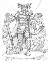 "Heimdall - Heimdall guards the Bifrost. The Bifrost is the spiritual connection to the ancestors (source of what could be called ""divine inspiration""). Heimdall is more knowledgeable, has wisdom, and is older than both the Vanir and the Aesir. Illustration by Bob Barry, copyright Norhalla.com."