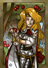 Idunna - Idunna is wife to Bragi and lives in Asgard. She tends the apple trees and gardens in Asgard. Illustration by Nicolas R. Giacondino, copyright Norhalla.com.