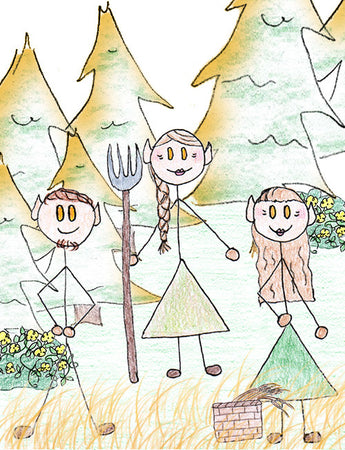 Light Elves - The light elves live in Alfheim. Alfheim is under Freyr's care and leadership. They are light and cheery and work the land through farming. Illustration for Norse, of Course! by Kristin Valkenhaus, copyright Norhalla.com.