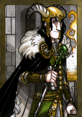 Loki - Loki is the son of Fárbauti his father, a Jotun and Laufey his mother, an Aesir. He lives in Asgard with the Gods for many years. He is skilled in political maneuvering and lies. He does mean and evil things to people, the Gods, and others then talks his way out of punishment.  Illustration by Nicolas R. Giacondino, copyright Norhalla.com.